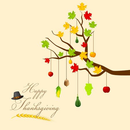 autumn trees: easy to edit vector illustration of Thanksgiving Harvesting festival