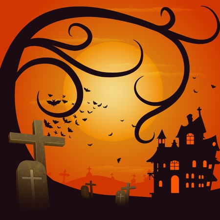 easy to edit vector illustration of haunted house in Halloween background Vector