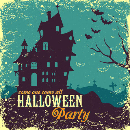 haunted house: easy to edit vector illustration of haunted house in Halloween background
