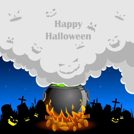 easy to edit vector illustration of Halloween background with ghost coming out of cauldron Vector