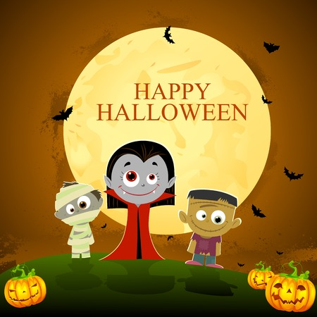 easy to edit vector illustration of ghost standing in Halloween night Vector