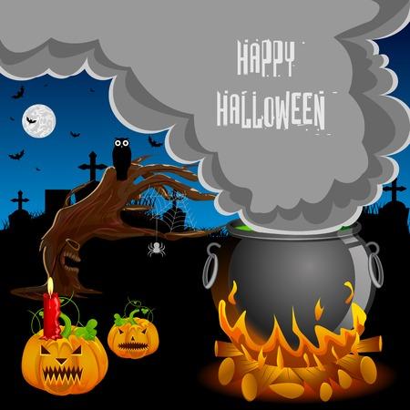 illustration editable: easy to edit vector illustration of Halloween background