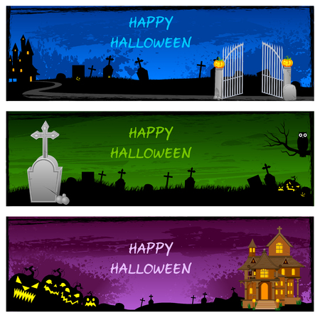 house party: easy to edit vector illustration of Halloween banner