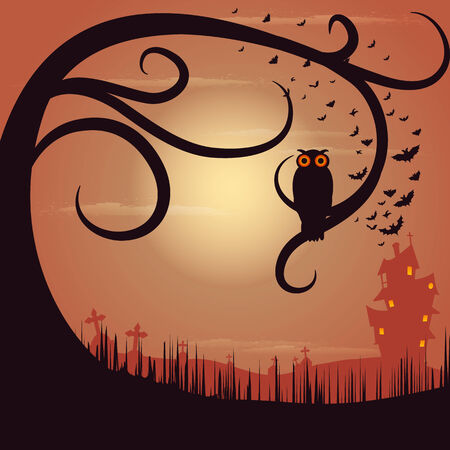 easy to edit vector illustration of Owl Sitting on Tree in Halloween Night Vector