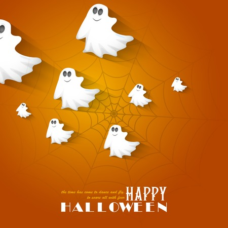 easy to edit vector illustration of Halloween Background with flying boo ghost Illustration