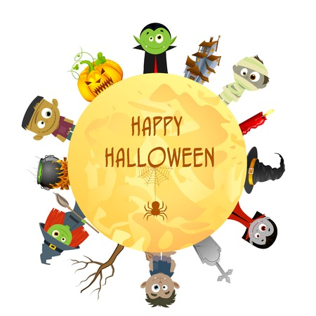 easy to edit vector illustration of Creepy character wishing Happy Halloween Vector