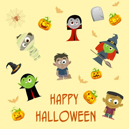 easy to edit vector illustration of Halloween patterned background