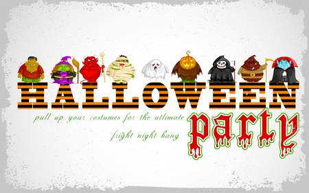 halloween costume: easy to edit vector illustration of Halloween Costume Party design