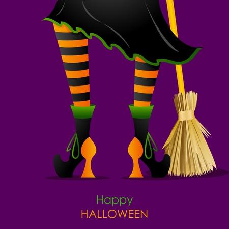 gemakkelijk te bewerken vector illustratie van de heks been bewerken met bezemsteel in Halloween achtergrond