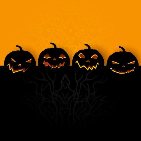 invitacion fiesta: f�cil de editar ilustraci�n vectorial de fondo de Halloween con calabaza