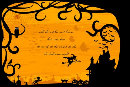 easy to edit vector illustration of haunted house in Halloween background