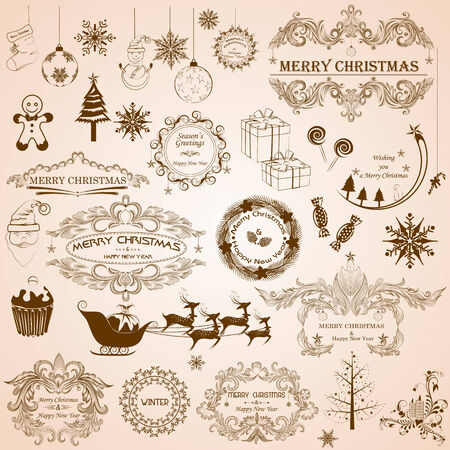 easy to edit vector illustration of Christmas Calligraphic Decoration Stock Vector - 25663478