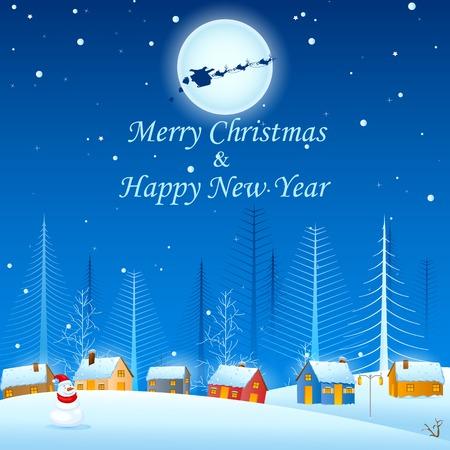 albero pino: facile da modificare illustrazione vettoriale di albero di pino in Natale notte invernale