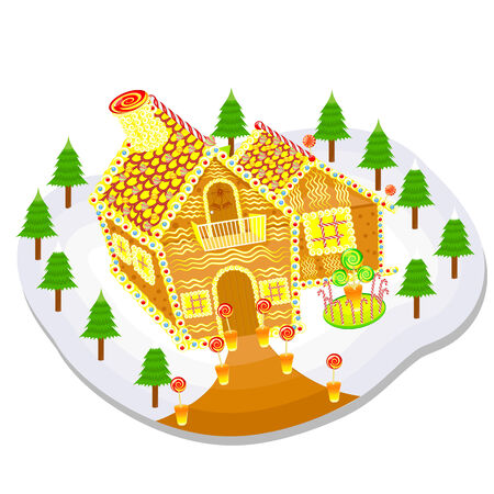 easy to edit vector illustration of gingerbread house for Christmas Vector