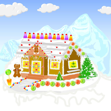 gingerbread house: easy to edit vector illustration of gingerbread house for Christmas