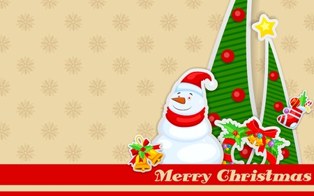 easy to edit vector illustration of snowman with Christmas decoration