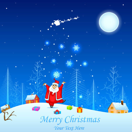 frosted window: easy to edit vector illustration of Santa with Christmas gift Illustration