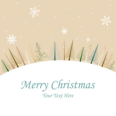 winter vector: easy to edit vector illustration of pine tree in Christmas winter night