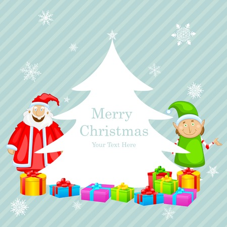 easy to edit vector illustration of Santa Claus with Christmas gift Vector