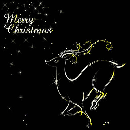 easy to edit vector illustration of Merry Christmas with glowing Reindeer Vector