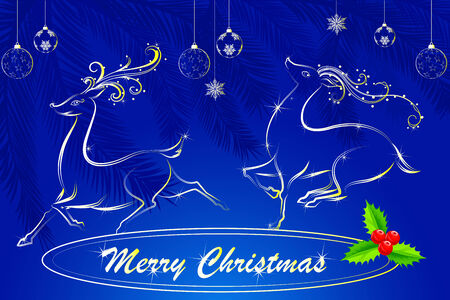 easy to edit vector illustration of Merry Christmas with jumping Reindeer Vector