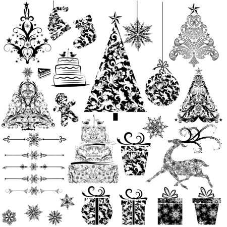 easy to edit vector illustration of Christmas Floral Decoration Stock Vector - 25663524