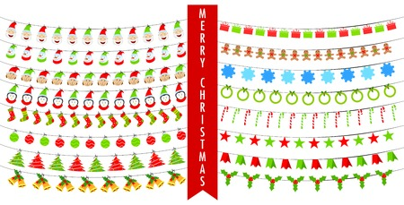 easy to edit vector illustration of Christmas Bunting Vector