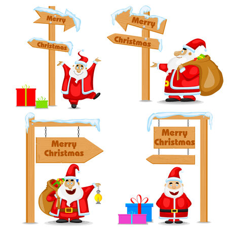 easy to edit vector illustration of Santa Claus near signpost of Merry Christmas Vector