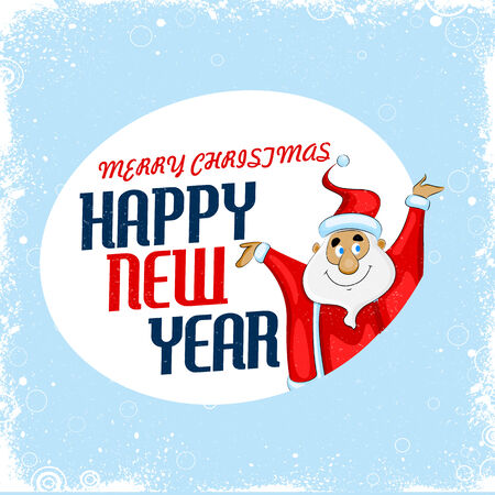 easy to edit vector illustration of Santa wishing Merry Christmas and Happy New Year Vector