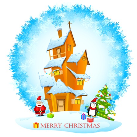 easy to edit vector illustration of Santa in decorated house with Christmas gift Vector
