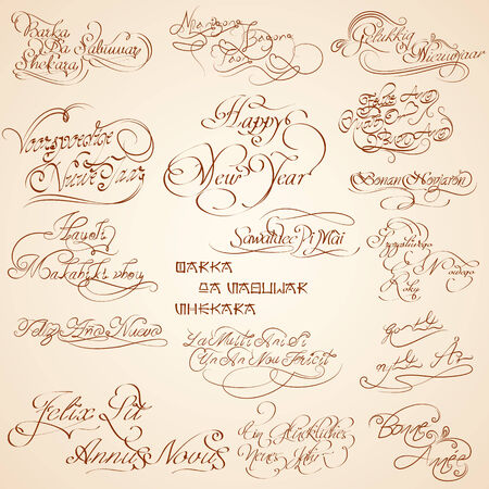 easy to edit vector illustration of Happy New Year in different  language Vector