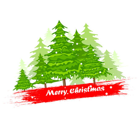 easy to edit vector illustration of pine tree in Christmas Background Vector