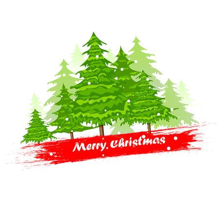 albero pino: facile da modificare illustrazione vettoriale di albero di pino in background di Natale Vettoriali