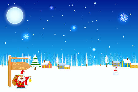 easy to edit vector illustration of Santa with Christmas gift Vector
