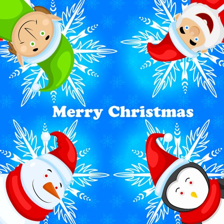 easy to edit vector illustration of  Merry Christmas background with Santa Claus, Elf and Snowman Vector