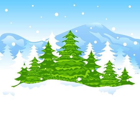 albero pino: facile da modificare illustrazione vettoriale di albero di pino nel Natale paesaggio invernale Vettoriali