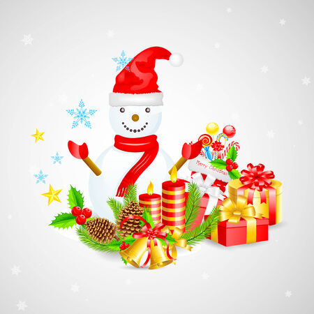 easy to edit vector illustration of Snowman with Christmas Gift Vector