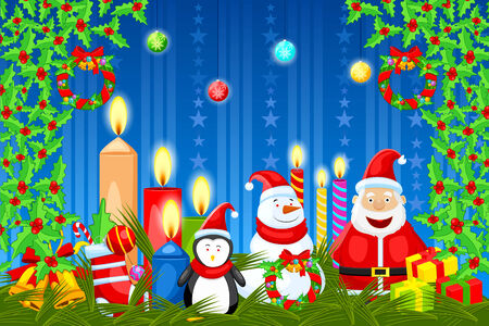 easy to edit vector illustration of Santa Claus wishing Merry Christmas Vector