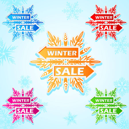 easy to edit vector illustration of winter sale snowflakes sticker Vector