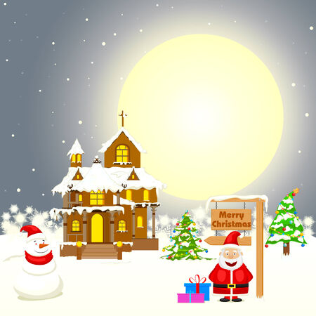 frosted window: easy to edit vector illustration of Santa in decorated house with Christmas gift Illustration