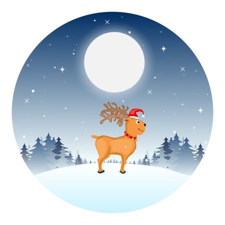 easy to edit vector illustration of Reindeer wearing Santa cap in Christmas night Vector