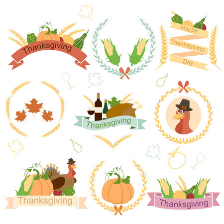 easy to edit vector illustration of Happy Thanksgiving label Vector