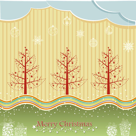 easy to edit vector illustration of pine tree in Christmas winter night Vector