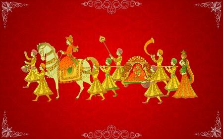 свадебный: легко редактировать векторные иллюстрации индийской свадьбы карты Иллюстрация