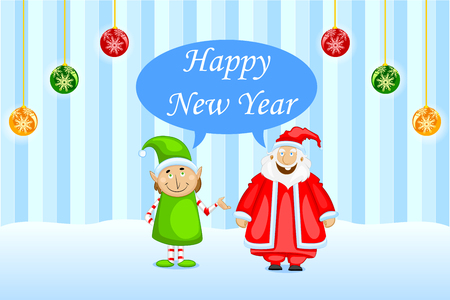 easy to edit vector illustration of Santa wishing Happy New Year Vector
