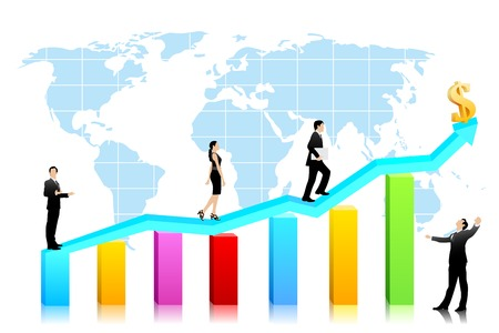 easy to edit vector illustration of business people waliking on bar graph with dollar Stock Illustratie