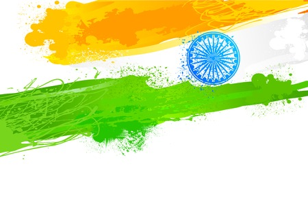 independence day: easy to edit vector illustration of Grungy Indian Wallpaper with flag