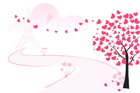easy to edit vector illustration of love tree with blooming heart Vector
