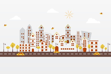 easy to edit vector illustration of cityscape made f paper Vector