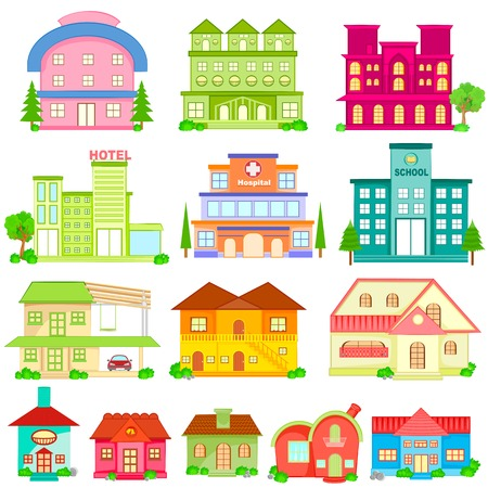 easy to edit vector illustration of Building Icon Collection Ilustração